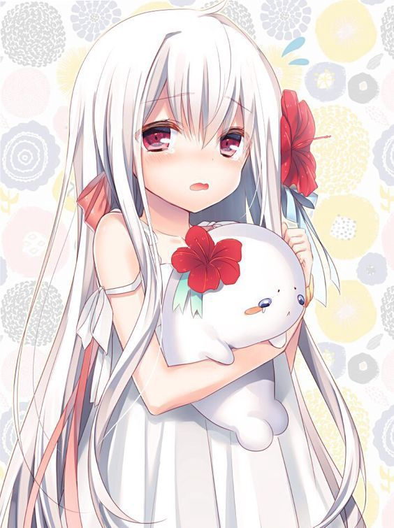haired girl with eyes White anime red