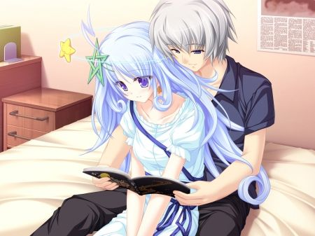 bed Anime couple in