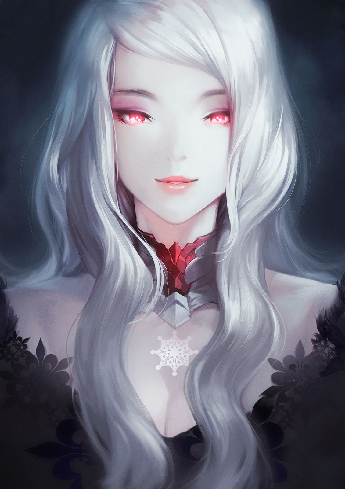 white Anime and eyes with girl hair red