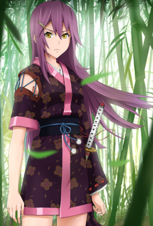 Anime girl with purple hair and green eyes