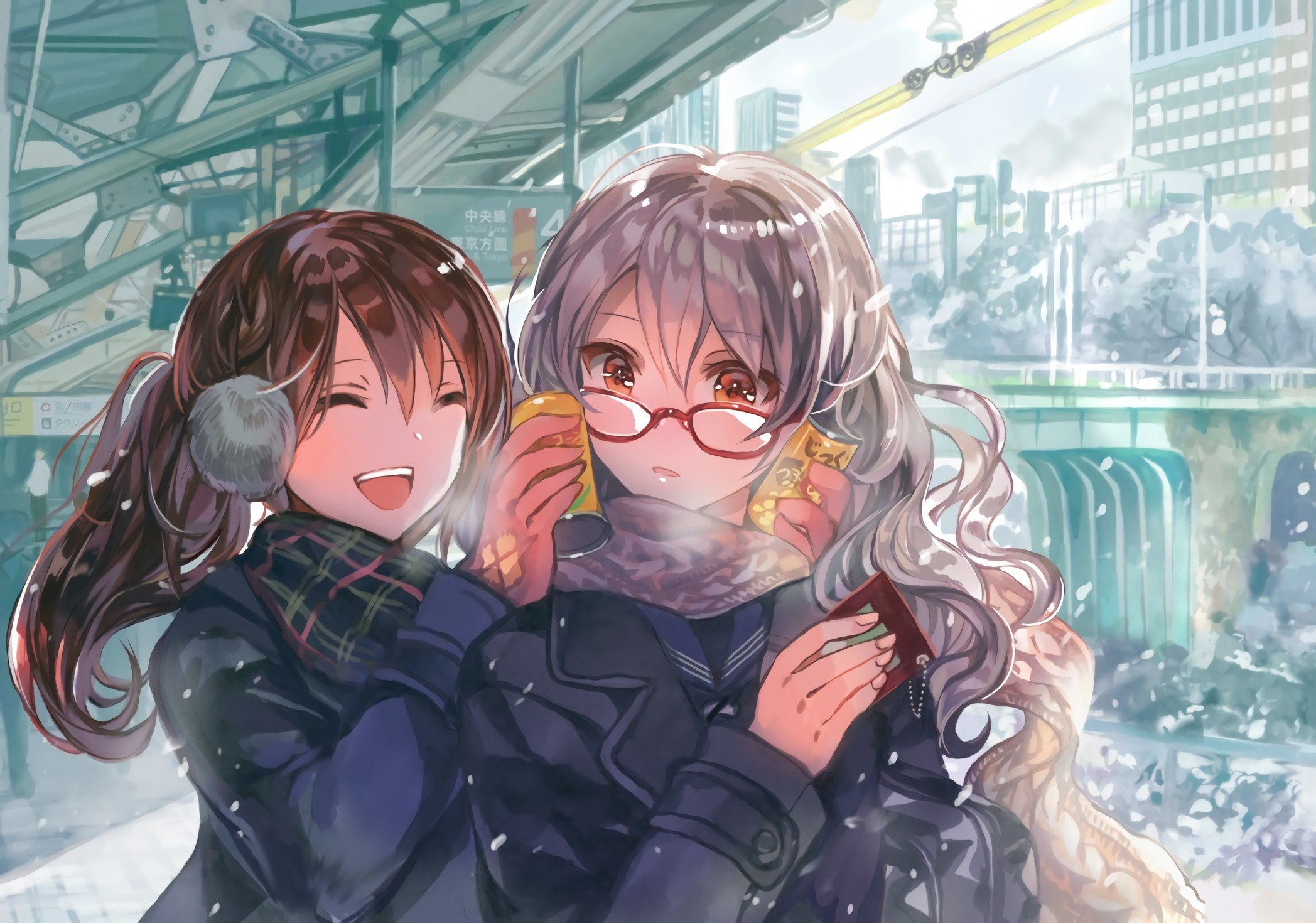 with long glasses hair Anime and girl