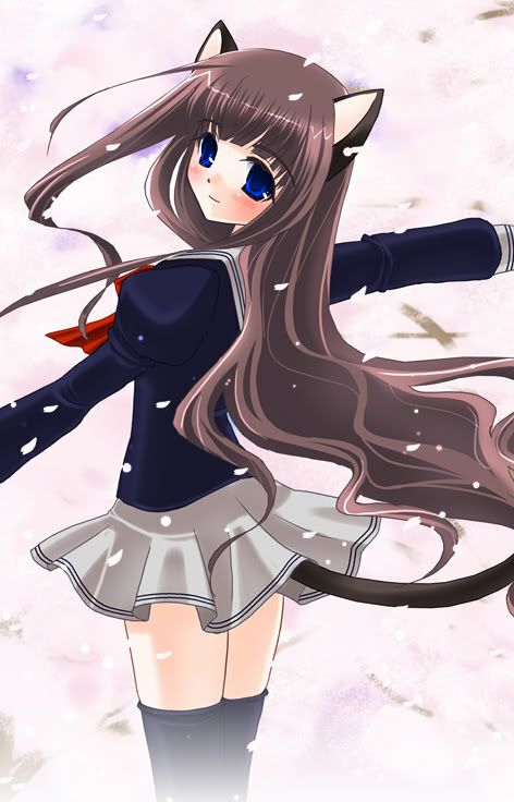 brown Anime with hair girl cat