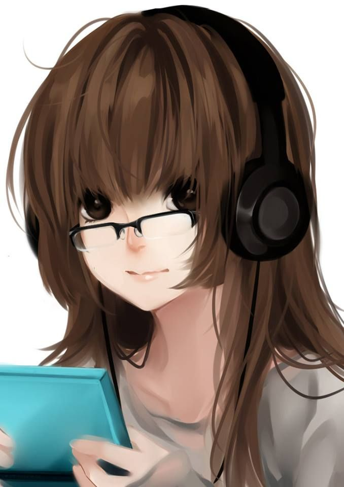 and brown eyes Anime brown with hair girl