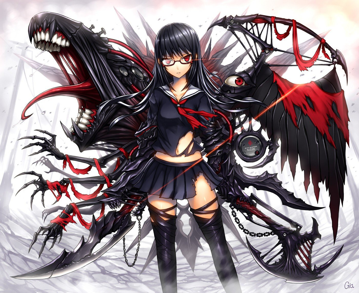 red Anime girl hair with black eyes and