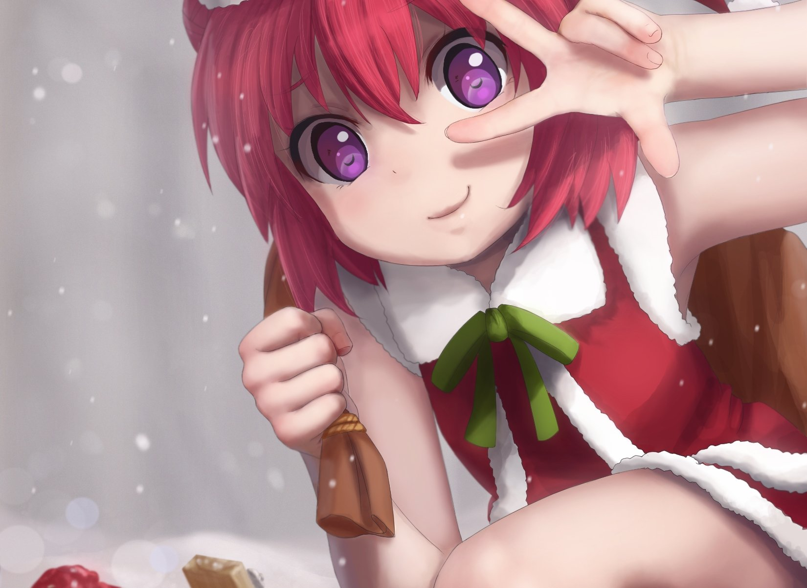 eyes hair Anime girl and with red purple