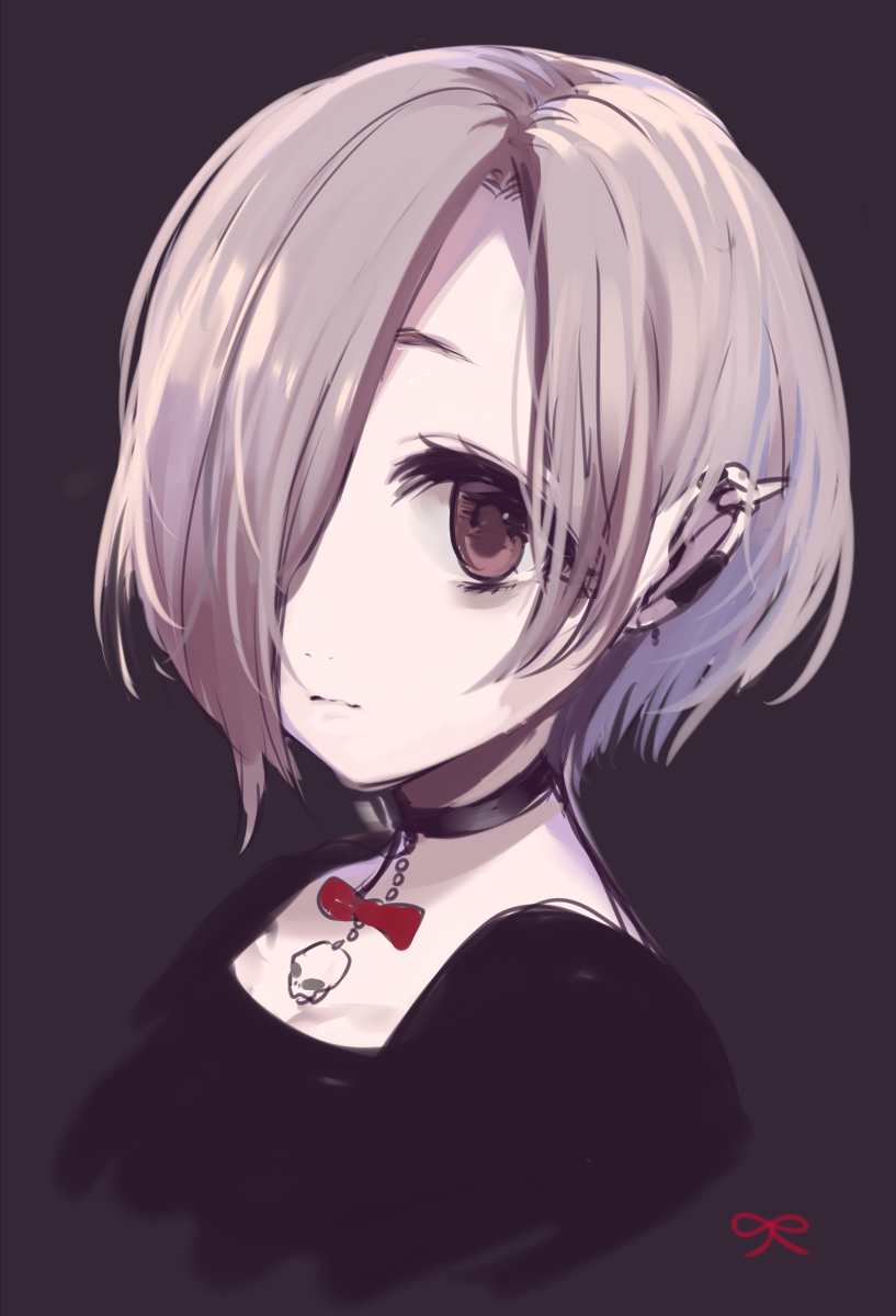 Anime girl with hair covering one eye